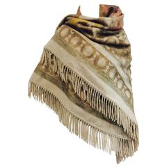 Loro Piana and Co. Beige Cashmere Shawl With Floral Motif