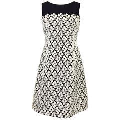 Oscar de la Renta Black Silk Sleeveless Cocktail Dress W Ivory Floral Applique