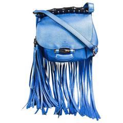 "Gucci Metallic Blue Pebbled Leather Bamboo ""Nouveau"" Fringe Crossbody Bag"