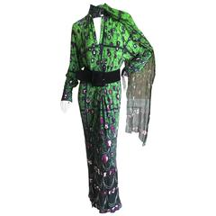 Jean Paul Gaultier Femme Cameo Print Green Dress with Wide Suede Belt