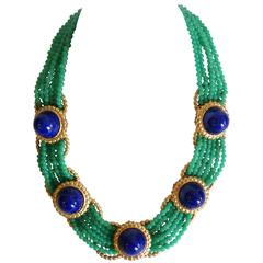 1975 William de Lillo Jade Cameo Glass and Lapis Lazuli Collar Necklace