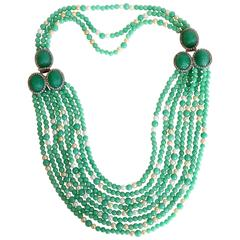 1970s Multi Strand Jade and Faux Pearls created by William de Lillo