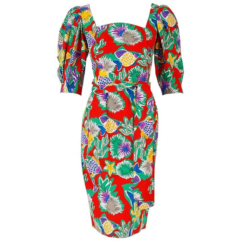 1981 Yves Saint Laurent Colorful Novelty Fish Print Cotton Puff-Sleeve Dress  For Sale