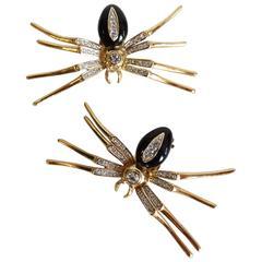 1980s Black Widow Spider Enamel and Crystal Earrings