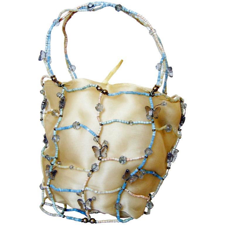 Rare Bottega Veneta Silk Evening Bag with Beaded Wire Frame + Butterflies For Sale