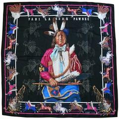 "Hermes Rare Silk Carre Scarf ""Pani La Shar Pawnee"" by Kermit Oliver"