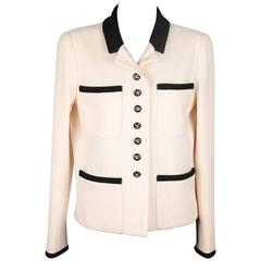CHANEL BOUTIQUE 96P White & Black Wool Blend JACKET Blazer SIze 38