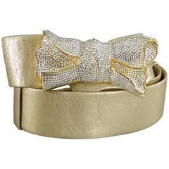judith leiber 1980's Gold leather and Swarovski Crystal Bow Belt