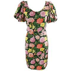 yves saint laurent Vintage 1980's Silk Roses Dress
