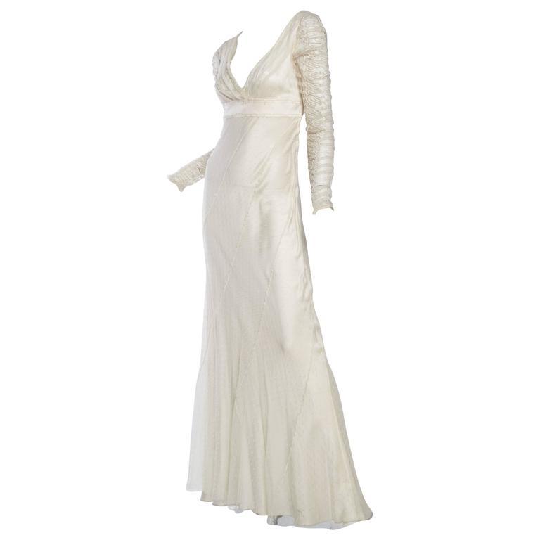 Alberta Ferretti  Bias Silk and Lace Gown