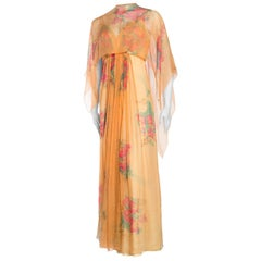 1970s Alfred Bosand Hand Painted Silk Chiffon Gown with Cape