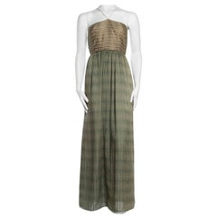 1970S Bill Blass Olive Green Silk Chiffon Stripe Backless Gown