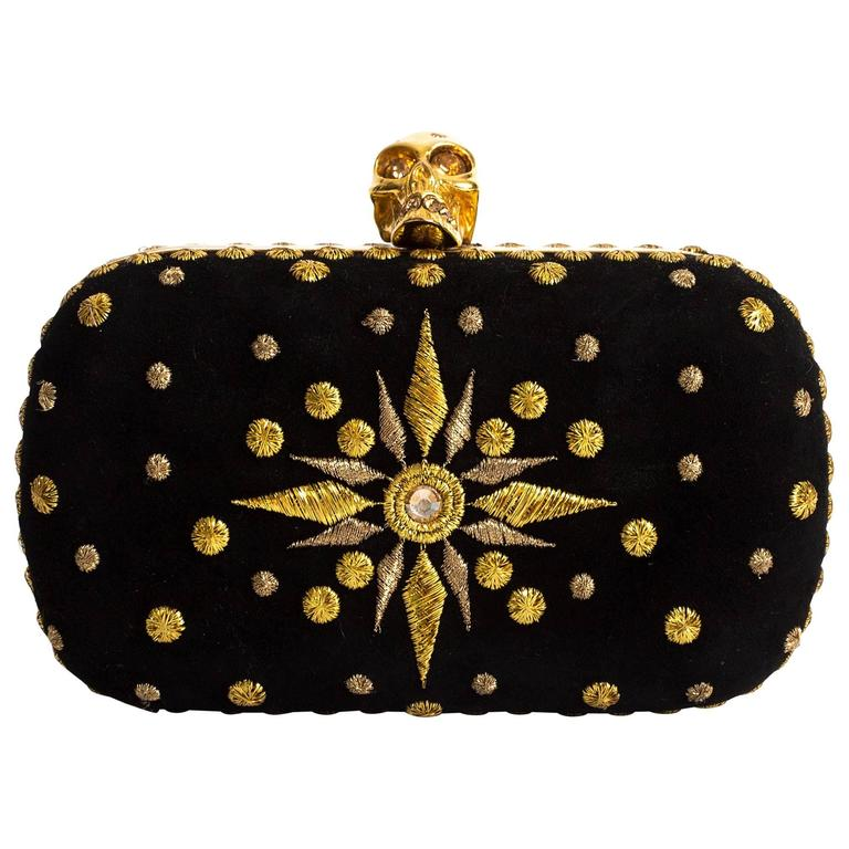 Alexander McQueen hard case embroidered skull evening clutch