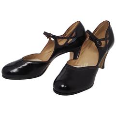20s Black Patent Leather Pumps w/ Cutout Detail