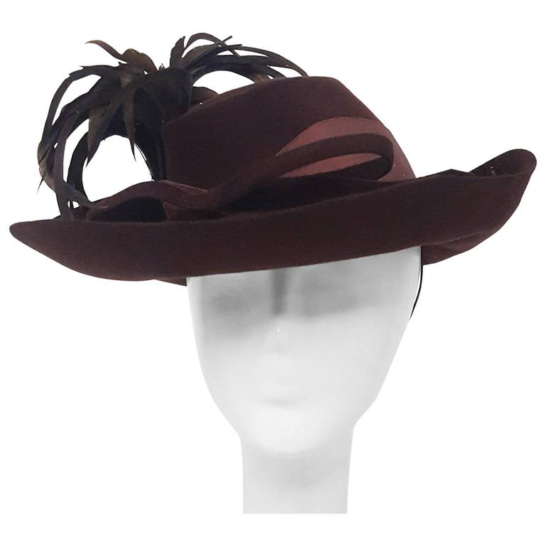 40s Brown Wide Brimmed Fashion Hat For Sale