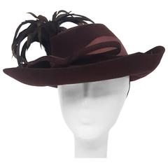 40s Brown Wide Brimmed Fashion Hat
