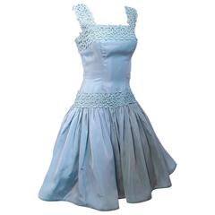60s Iridescent Baby Blue Party Dress