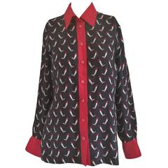 Rare Gucci Red Blu Boots Print Chemise