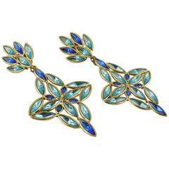 Yves Saint Laurent YSL Vintage Massive Jewelled Dangling Earrings