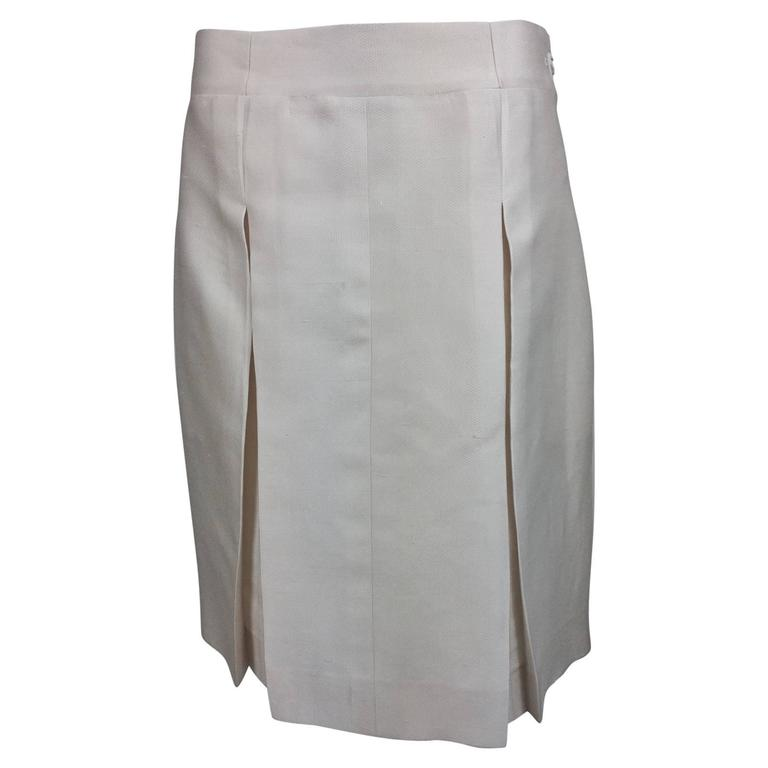 Chanel off white silk cotton pique box pleated skirt 2009