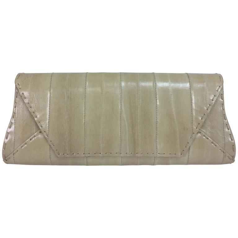VBH Manila First Edition cream eel skin clutch handbag
