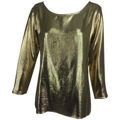 Yves St Laurent gold tissue lame evening top 1970s