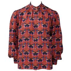 Rare Yves Saint Laurent Butterfly Print Blouse