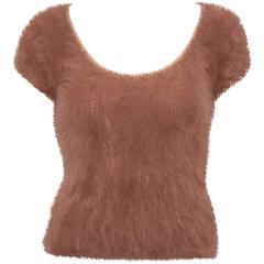 Irresistible 1970's Cheryl Baron Angora T-Shirt Style Sweater
