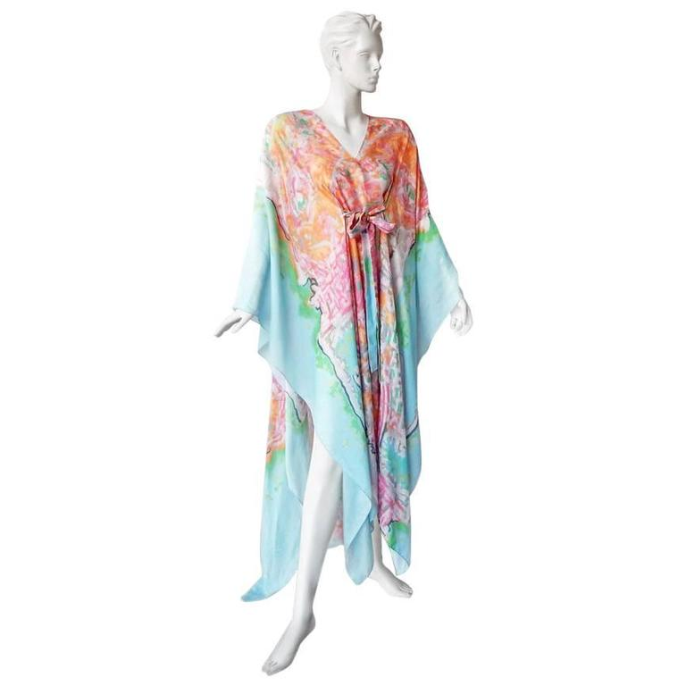 Chanel French Riviera Caftan Dress with Painterly Quality For Sale