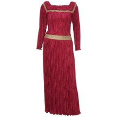 Stunning 1970's Mary McFadden Burgundy Red & Gold Evening Dress