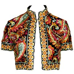 Donald Brooks Heavily Embroidered Vintage Bolero Jacket, 1960s
