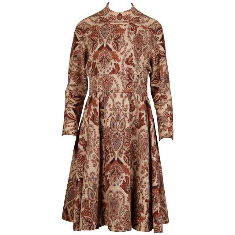 1970s Geoffrey Beene Vintage Wool Knit Tapestry Dress