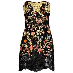 1990s Christian Lacroix Vintage Strapless Floral Print Mini Dress with Raffia