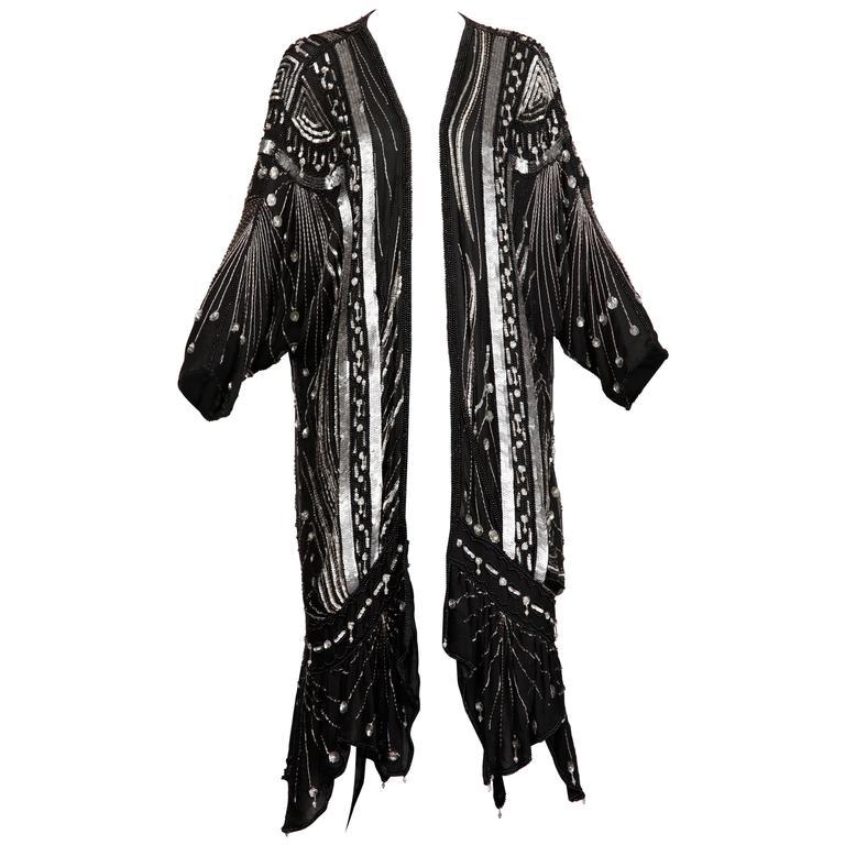Vintage 100% Silk Beaded Sequin Art Deco Kimono Duster Jacket or Coat For Sale