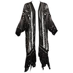 Vintage 100% Silk Beaded Sequin Art Deco Kimono Duster Jacket or Coat