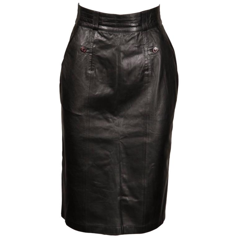 Karl Lagerfeld Vintage Black Leather Pencil Skirt
