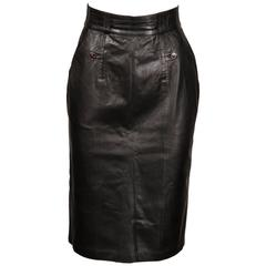 1990s Karl Lagerfeld Vintage Black Leather High Waist Pencil Skirt 26 Small