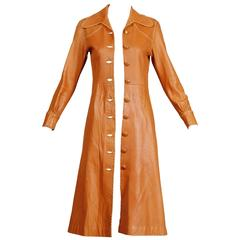 1970s Pieles Pitic North Beach Leather Vintage Handmade Whipstitch Coat