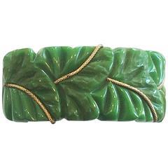 Rare Heavily carved green leaf bakelite hinged bakelite clamper bangle