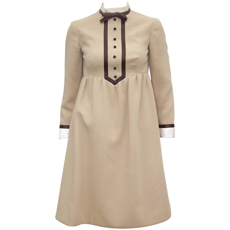 1960's Geoffrey Beene Babydoll Dress With Satin Collar & Cuffs