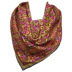 Mod & Colorful C.1970 Givenchy Silk Scarf