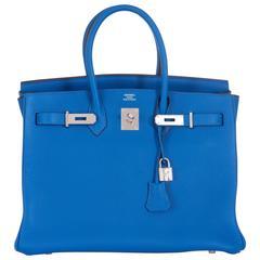 Hermes Birkin Bag 35cm Blue Mykonos Palladium Hardware