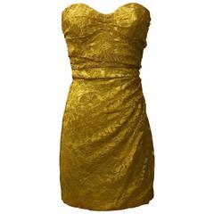 Dolce & Gabbana Marigold Yellow Guipere Lace Strapless Dress