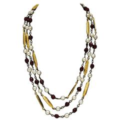 1970's Chanel Pearl, Poured Glass and Gold Long Necklace
