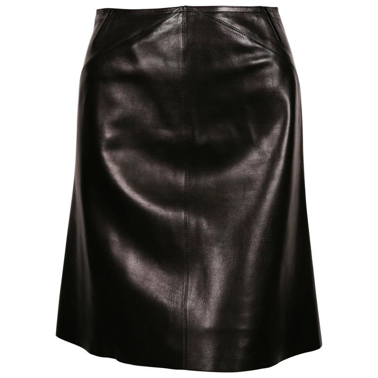 34b43a6ac906 AZZEDINE ALAIA black leather skirt with pleated hemline For Sale at ...