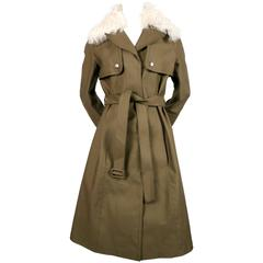 LOUIS VUITTON Nicolas Ghesquière khaki green mackintosh trench coat lamb collar