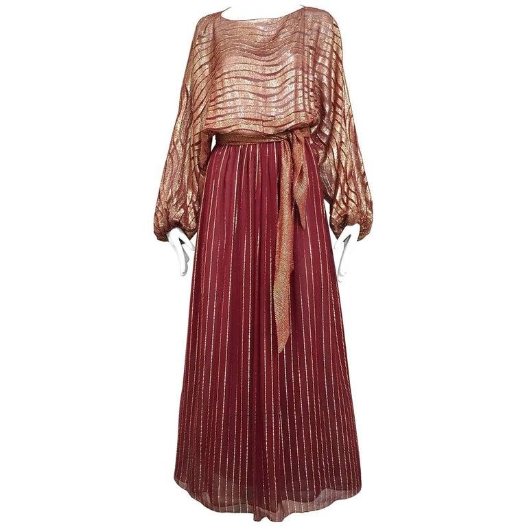 1970s BILL BLASS Burgundy Metallic Silk Maxi Dress For Sale