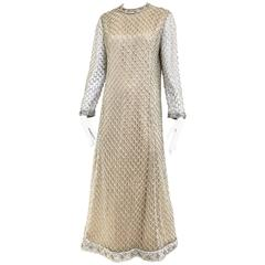 1970s Malcolm Starr silver metallic cocktail dress