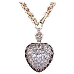 Victorian 14k Rose Cut Diamond & Enamel Flaming Heart Motif Locket w/18k Chain