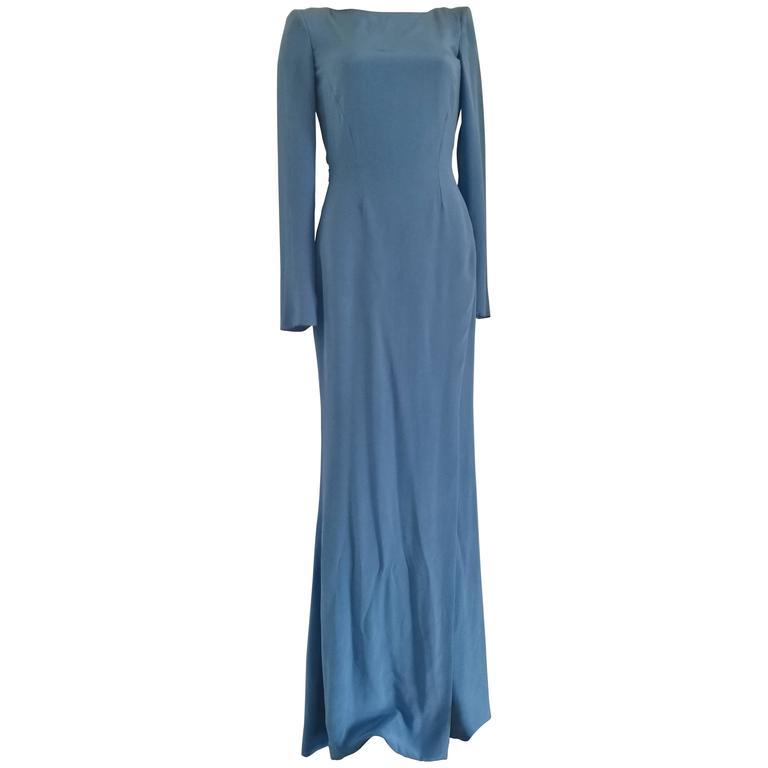Rare Versace Light Blu Long Open Back Dress